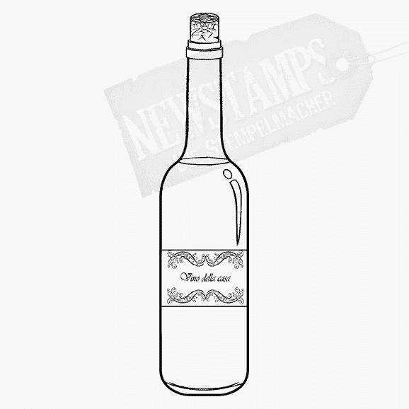 Motivstempel Weinflasche mit Etikett und Text Vino della casa