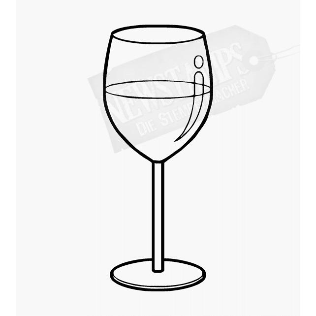 Motivstempel Weinglas halb gefüllt
