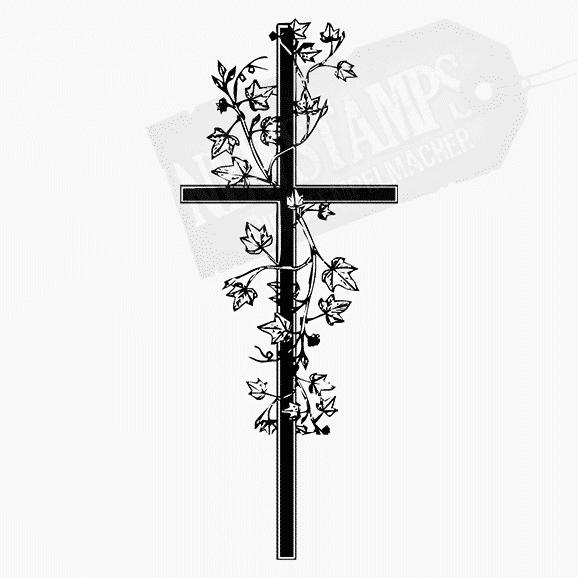 Motivstempel Kreuz mit Efeu umschlungen