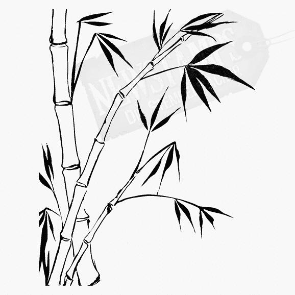 Florales Motiv Bambus Stämme