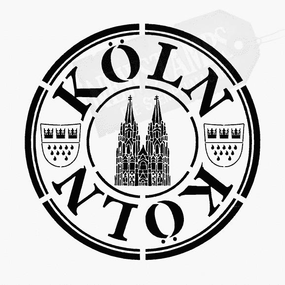 Köln Motiv runder Stempelabdruck mit Text Köln oben und unten Köln Wappen rechts und links Kölner Dom in der Mitte