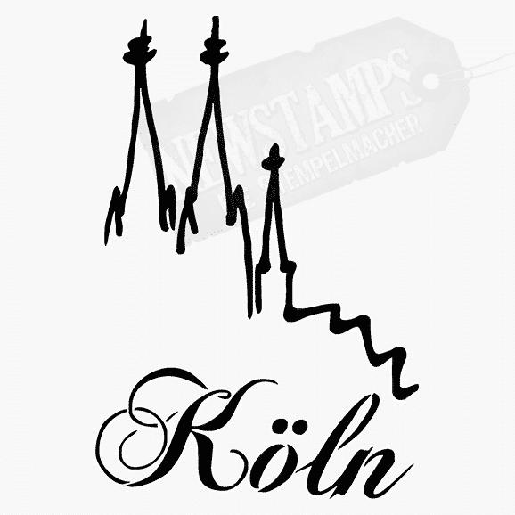 Motivstempel Kölner Dom Silhouette und Schriftzug Köln