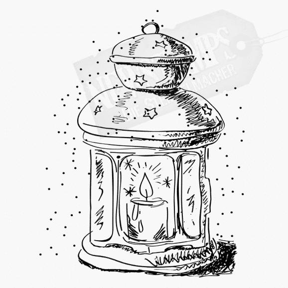 Motivstempel Laterne aus Blech mit brennender Kerze darin