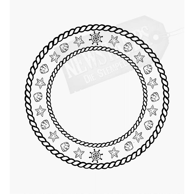Motivstempel Kreis aus einem Seil mit maritimen Motiven
