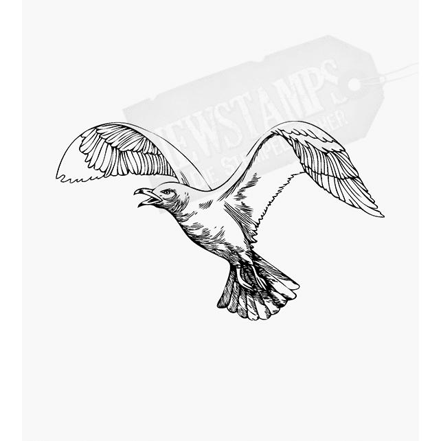 Motivstempel mit einer fliegenden Möve