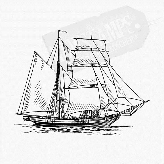 Ein Segelschiff auf dem Wasser Motivstempel