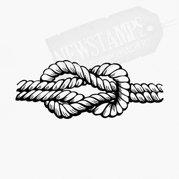 Ein Seil zum Kreuzknoten verknotet Motivstempel