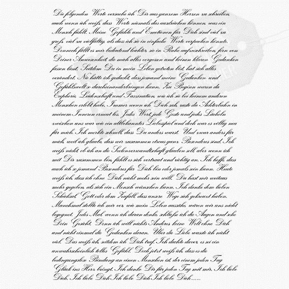 Spruchstempel Hintergrundstempel Liebesbrief mit Liebesbrieftext