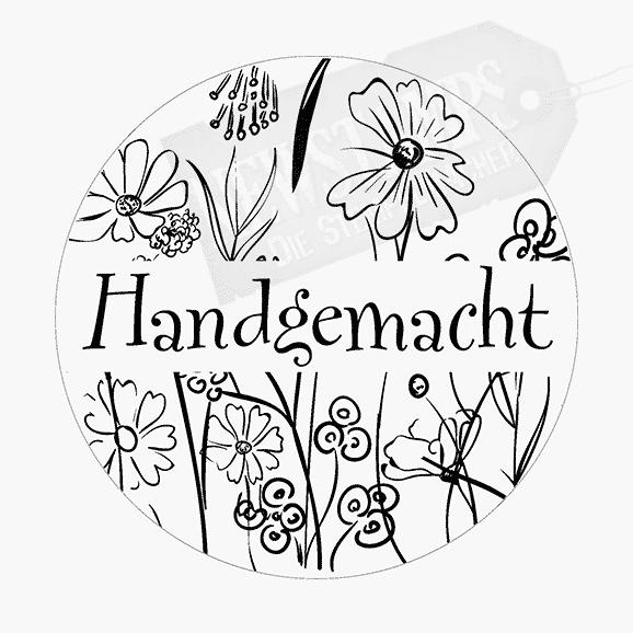 Spruchstempel Runder Stempel mit Blümchen und in der Mitte der Text Handgemacht