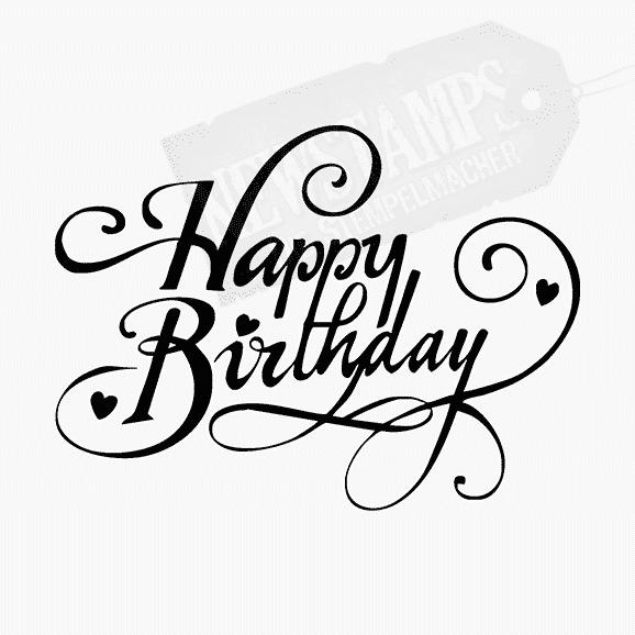 Spruchstempel Schnörkelschrift Happy Birthday
