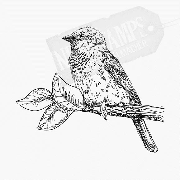 Tierstempel Vogel sitzt auf dem Ast