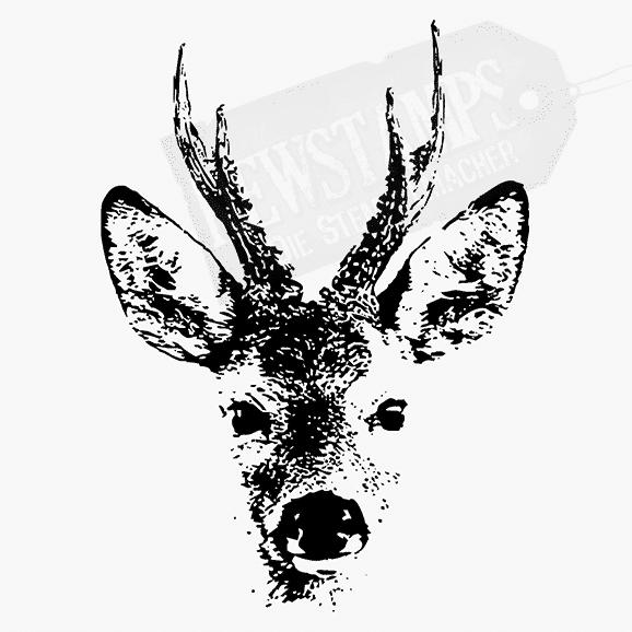 Tierstempel Rehkopf bestehend aus lauter Pixeln