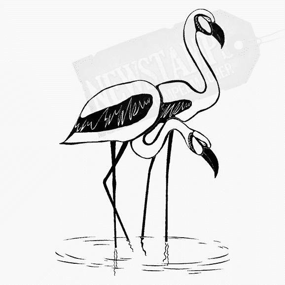 Motivstempel 2 Flamingos stehen im Wasser