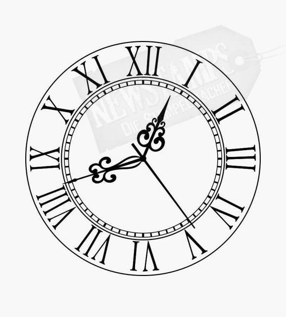 Uhr mit römischen Ziffern Motivstempel