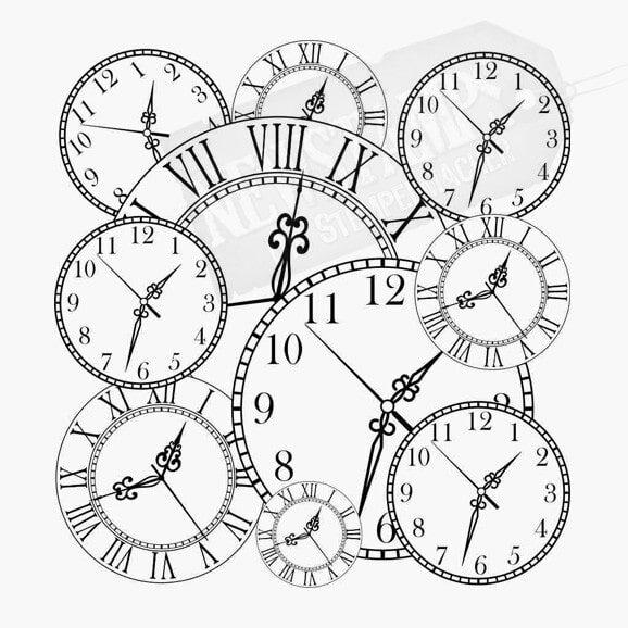 Viele verschiedene Uhren Hintergrundstempel Motivstempel