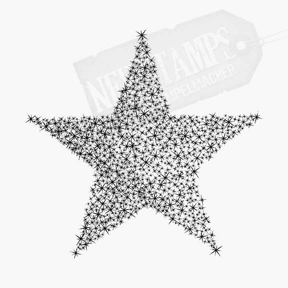 Weihnachtsstempel Sternenstern großer Stern mit hunderten kleinen Sternchen innen