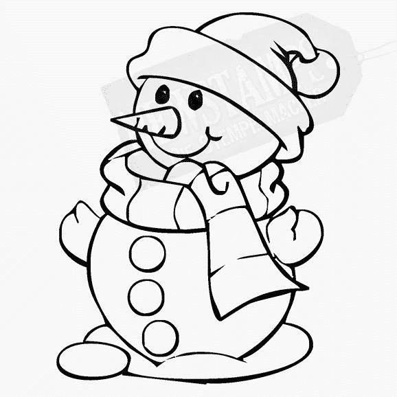 Weihnachtsstempel großer Schneemann nach links schauend