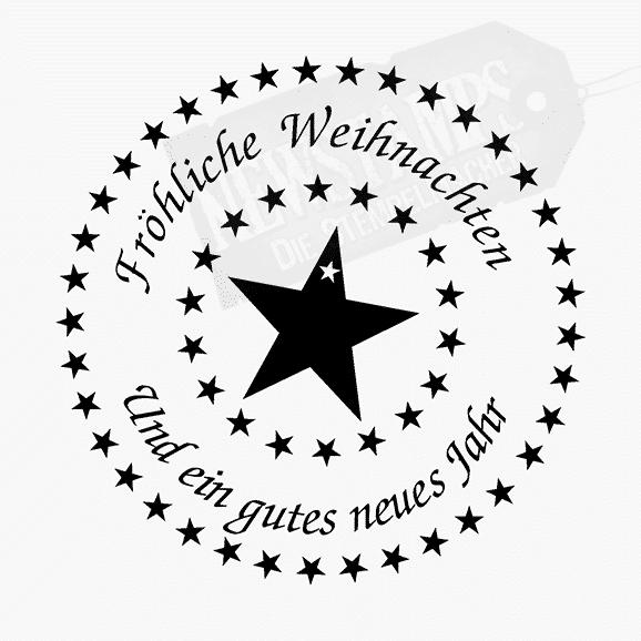 Weihnachtsstempel Frohe Weihnachten und ein gutes neues Jahr im Kreis geschrieben und mit Sternen umrandet großer Stern voll in der Mitte