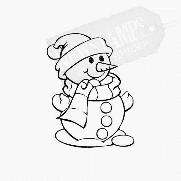 Weihnachtsstempel kleine Schneemann nach rechts schauend