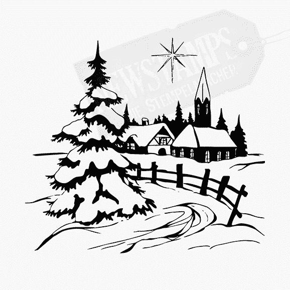 Weihnachtsstempel Winterdorf schneebedeckte Häuser mit Zaun und Tannen