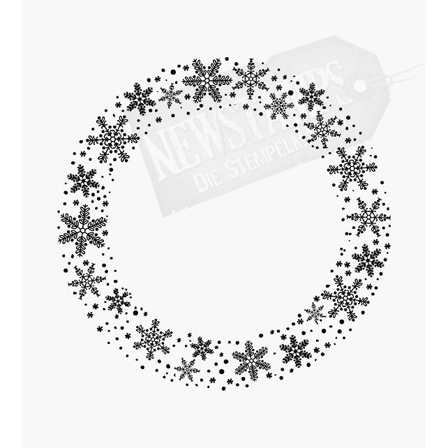 Weihnachtsstempel verschiedene Schneeflocken im Kreis
