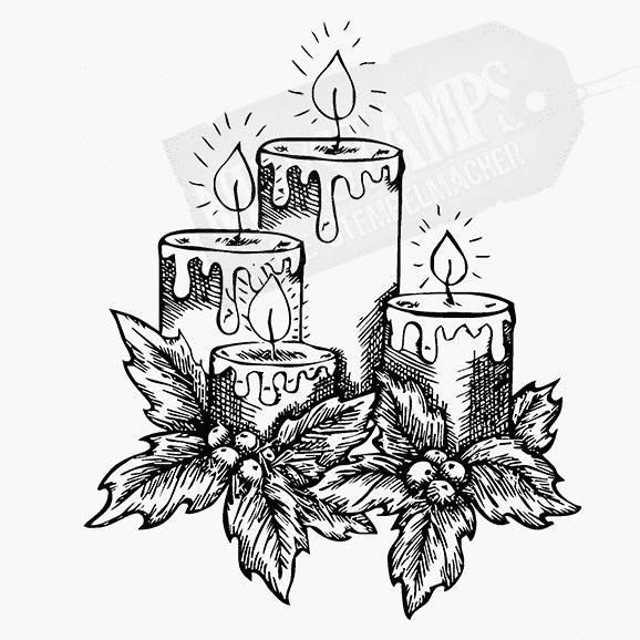 Weihnachtsstempel Vier brennende Kerzen mit Ilexblättern