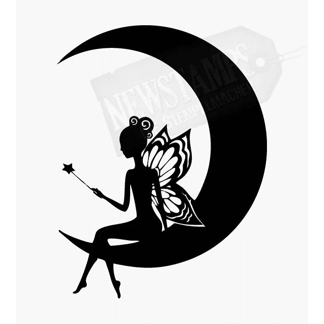 Motivstempel Elfe sitzt im Mond