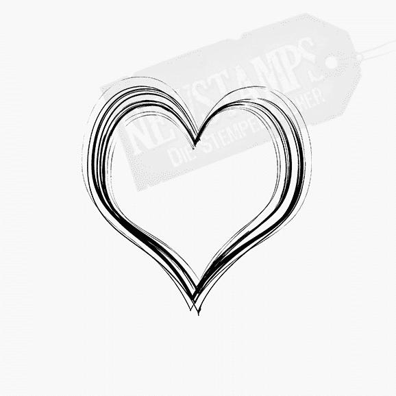 Motivstempel Herz mit unterschiedlichen versetzten Linien