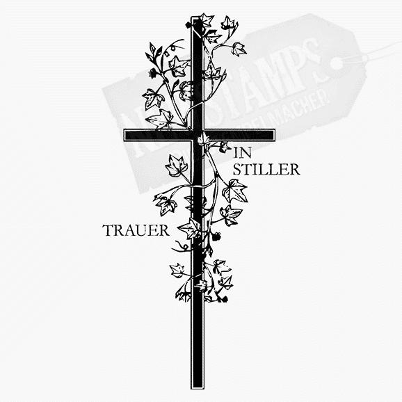 Spruchstempel In Stiller Trauer Kreuz mit Efeu umrangt