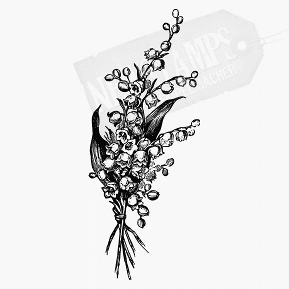Floraler Stempel mehrere Maiglöckchenstielen