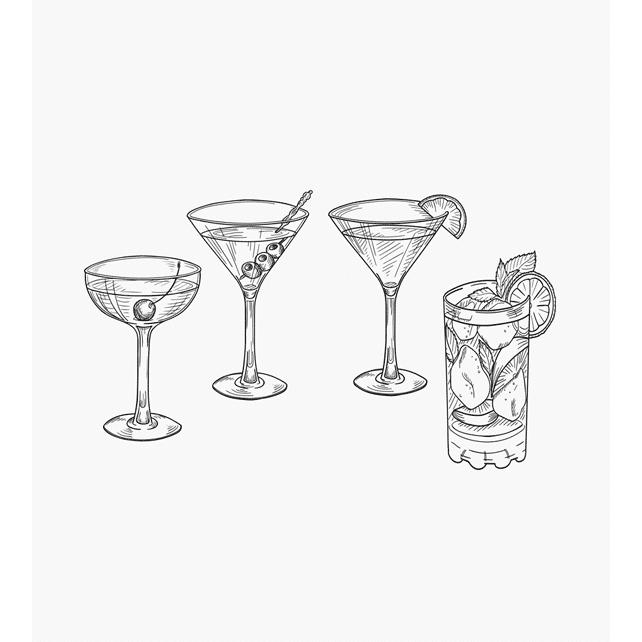 Motivstempel Cocktails 4 verschiedene Glasformen Longdrinkglas mit Eiswürfeln Minze und Zitrone Stielgläser