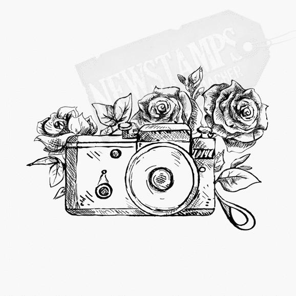 Motivstempel Kamera mit Rosenmotiven
