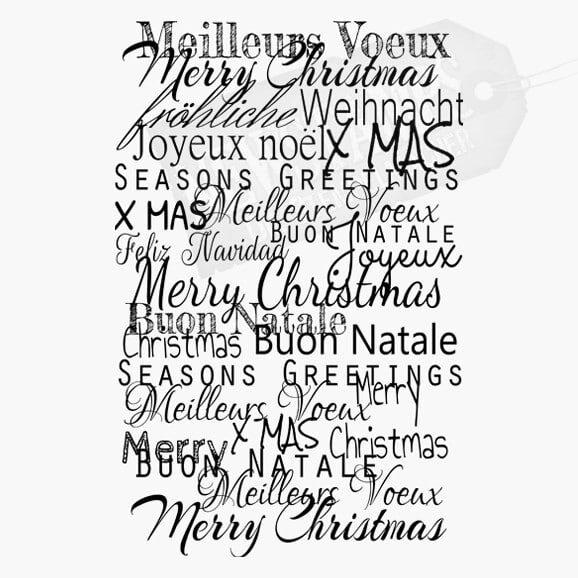 Hintergrundstempel mit vielen Weihnachtswünschen in 20 Sprachen