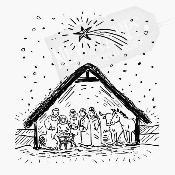 Weihnachtsstempel Krippe mit Maria und Joseph und den heiligen drei Königen und einer Kuh und einem Esel in der Krippe Weihnachtsstern und Sterne oben drüber