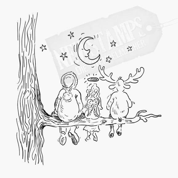 Weihnachtsstempel Nikolaus. Christkind Rentier sitzen auf einem Ast und schauen den Mond und die Sterne an