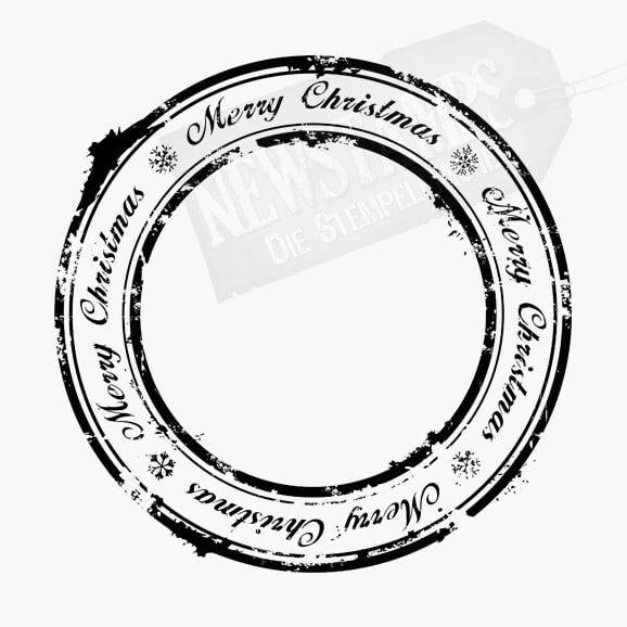 Weihnachtsstempel Merry Christmas Schriftzug zwischen zwei Kreisen eingebettet