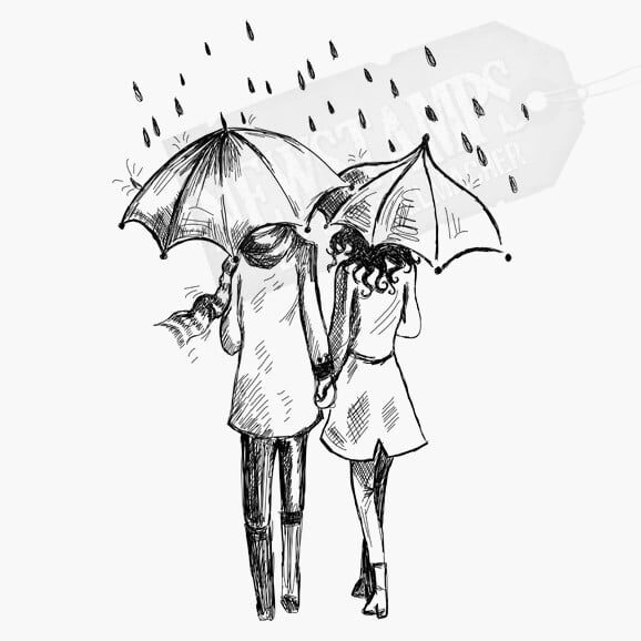 Motivstempel Paar im Regen Pärchen jeder hält einen Regenschirm in der Ha