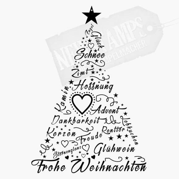 Weihnachtsstempel Weihnachtsbegriffe in Form eines Tannenbaumes mit einem Stern als Spitze