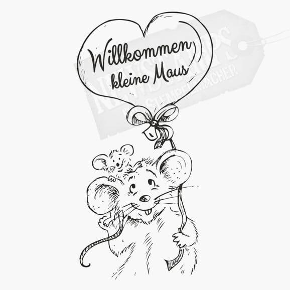 Motivstempel Willkommen kleine Maus Mama Maus mit Mausbaby Mama hält einen Herzförmigen Luftballon in der Hand mit dem Text auf dem Ballon Willkommen kleine Maus