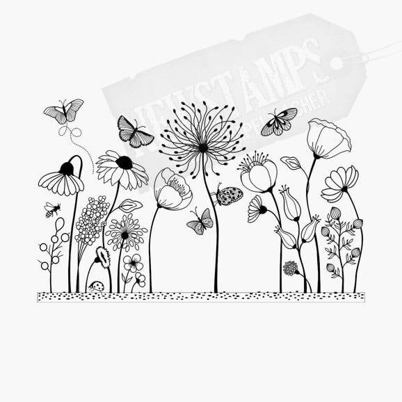 Florales Motiv Blumenwiese Lauter Wiesenblumen mit kleinen Schmetterlingen