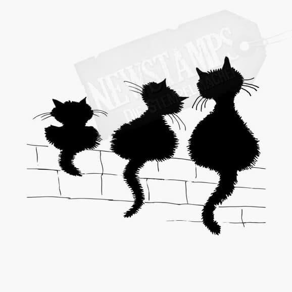 3 gleiche unterschiedlich große Katzen sitzend auf einer Mauer Tierstempel