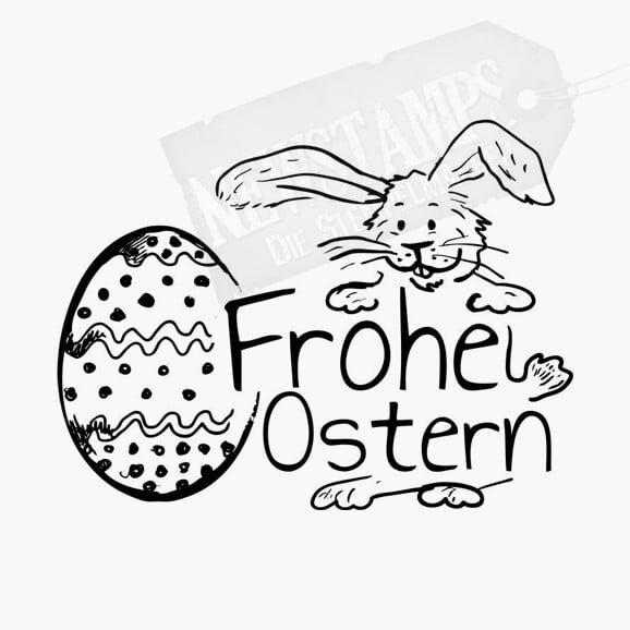 Hase hält Frohe Ostern und neben ihm ein Osterei Osterstempel