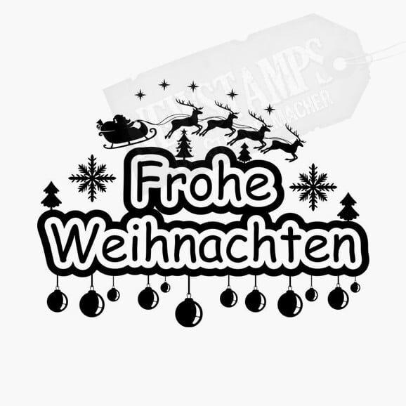 Weihnachtsstempel Frohe Weihnachten Nikolaus mit Schlitten und Rentieren darüber mit Sternen und Schneeflocken rechts und links und Christbaumkugeln hängen an dem Text Weihnachten