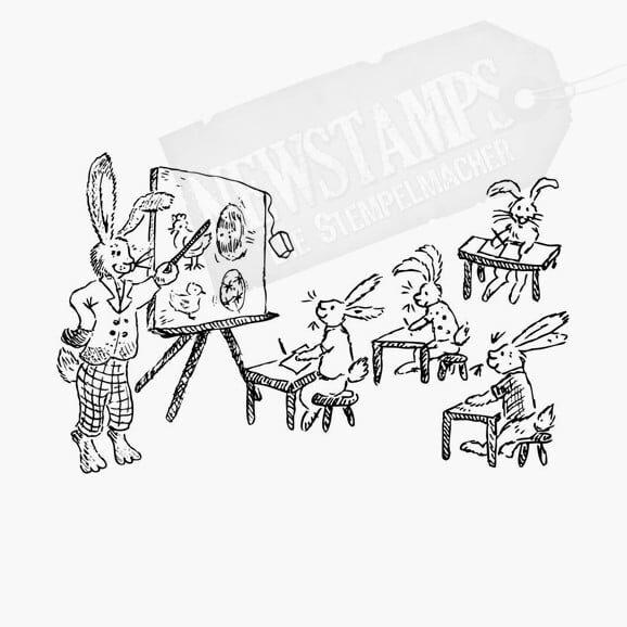 Osterstempel Hasenschule Osterhasen auf Schulbänken und Hasenlehrer an der Tafel