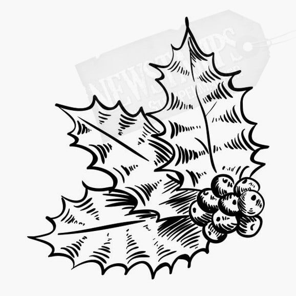 3 Ilexblätter mit Früchten Weihnachtsstempel