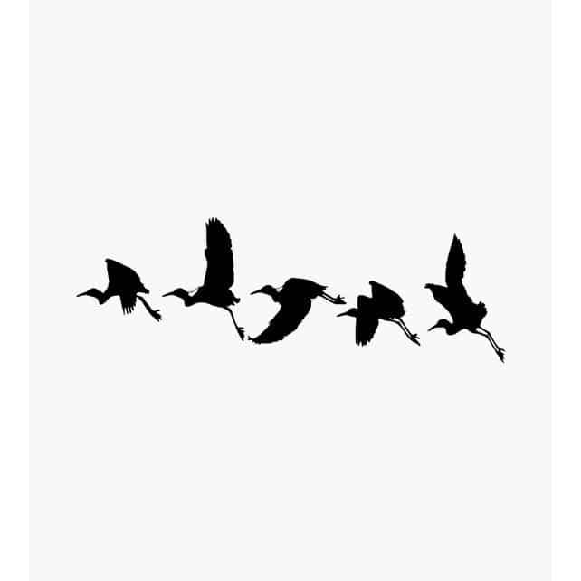 5 Kraniche fliegend hintereinander Tierstempel
