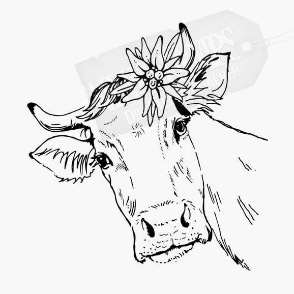 Kuhkopf mit Edelweiss zwischen den Hörnern Tierstempel