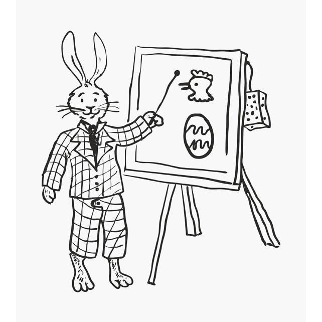 Osterstempel Hasenlehrer an der Tafel