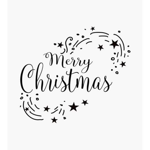 Merry Christmas steht in einem ovalen Ring aus Sternen und Strichen Weihnachtsstempel