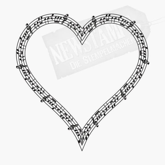 Motivstempel Herz aus Notenlinien mit Noten